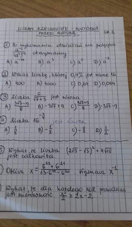 6.oblicz (6^22+6^21)/(13*6^14-6^20) wyznacz x^-1 - załącznik 1
