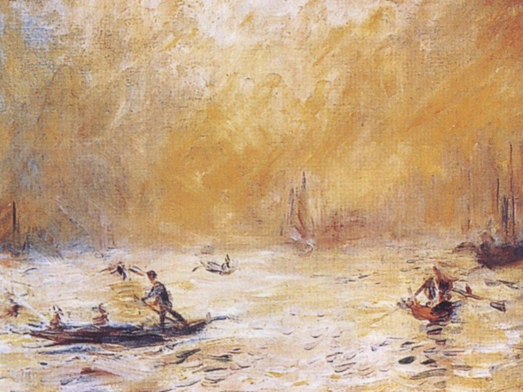"""Zanalizuj sposób ukazania mgły na obrazie """"Wenecja we mgle"""" autorstwa Augusta Ronaire'a. - załącznik 1"""