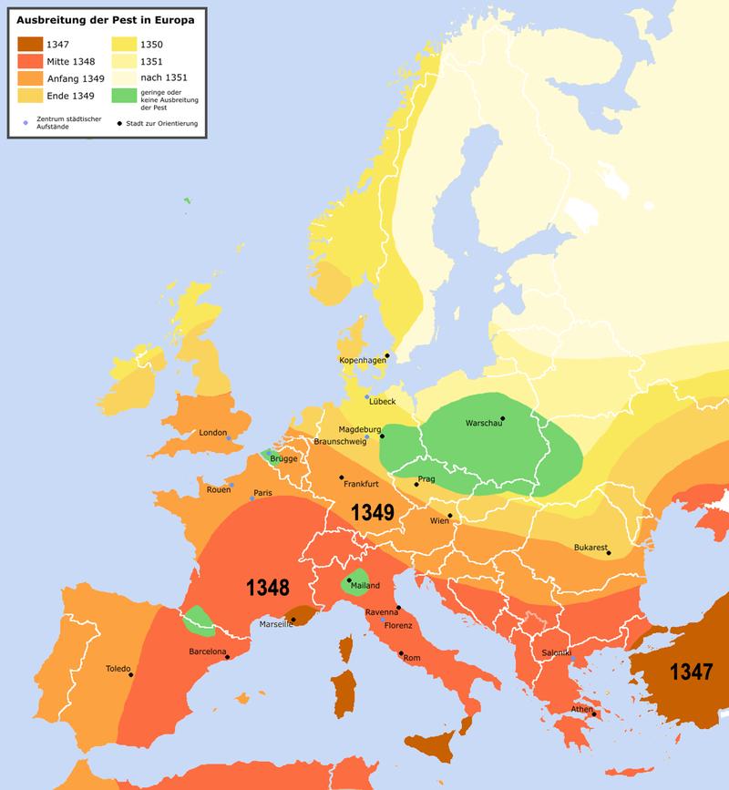 Rozprzestrzenianie się dżumy w XIV wieku