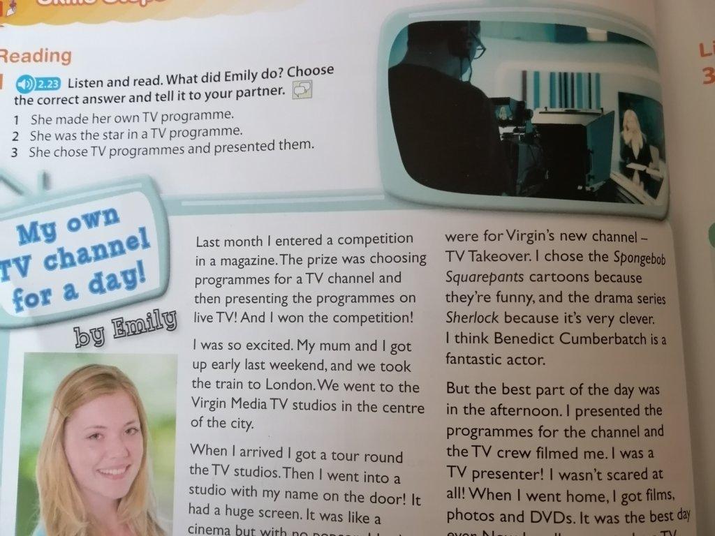 Ułóż 5 pytań i odpowiedzi do pytań do tekstu My own Tv channel for a day! - załącznik 1