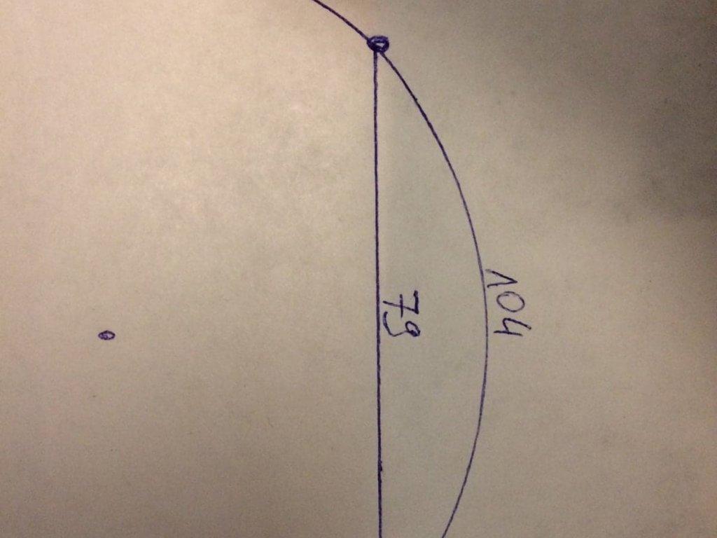 Mam taki okrąg, podana jest długość łuku oraz cięciwa. Muszę policzyć promień tego okręgu. z góry - załącznik 1