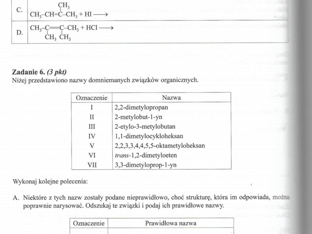 Zapisz wzory grupowe głównych produktów reakcji - załącznik 1