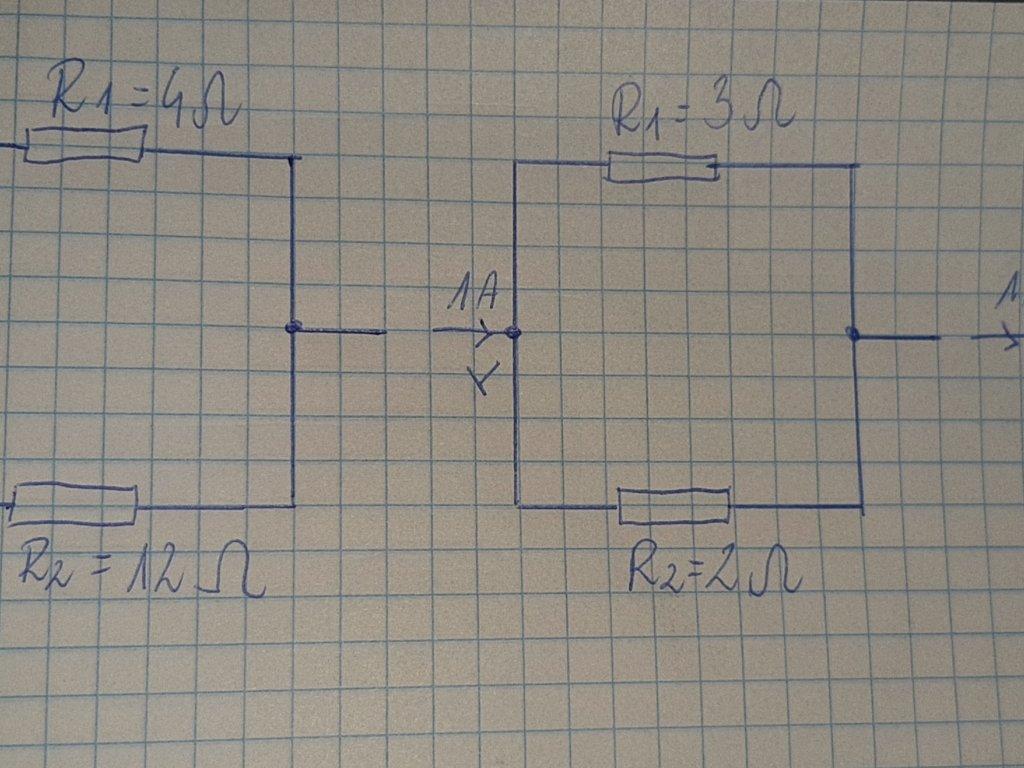 W obwodach przedstawionych na rysunkach do punktu Y odpływa prąd o natężeniu 1A. Dla każdego obwod - załącznik 1