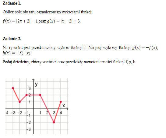 Oblicz pole obszaru ograniczonego wykresami funkcji - załącznik 1